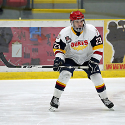 WELLINGTON, ON - JANUARY 13: Jacob Thousand #23 of the Wellington Dukes participates in the pre-game warmup on January 13, 2019 at Wellington and District Community Centre in Wellington, Ontario, Canada.<br /> (Photo by Ed McPherson / OJHL Images)