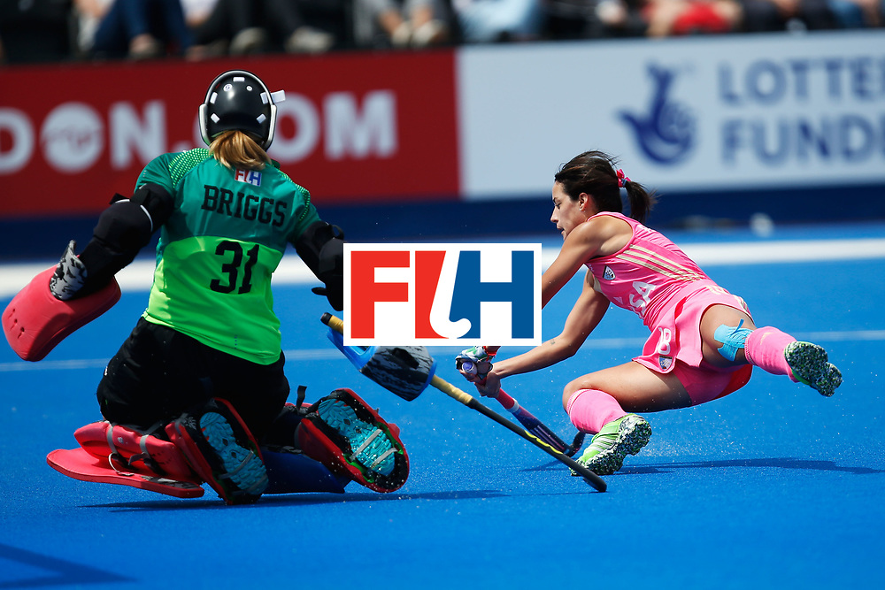 LONDON, ENGLAND - JUNE 19:  Pilar Romang of Argentina is stopped by USA goalkeeper Jackie Briggs  of the USA plays a pass during the FIH Women's Hockey Champions Trophy 2016 match between the United States  and Argentina at Queen Elizabeth Olympic Park on June 19, 2016 in London, England.  (Photo by Joel Ford/Getty Images)