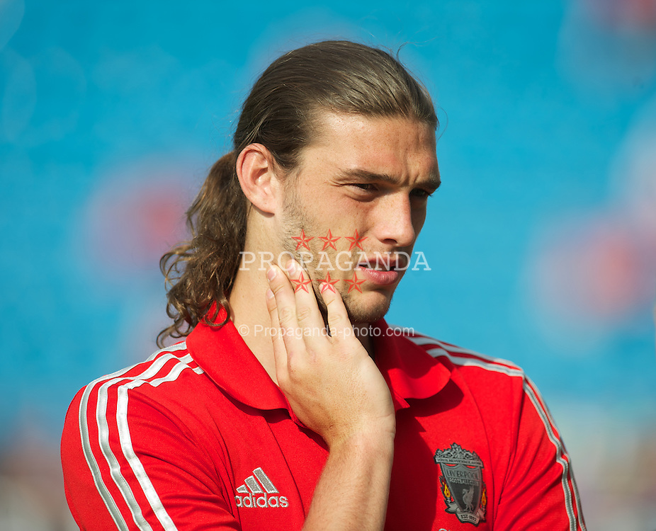 OSLO, NORWAY - Monday, August 1, 2011: Liverpool's Andy Carroll before the preseason friendly match against Valerenga at the Ulleval Stadion. (Photo by David Rawcliffe/Propaganda)