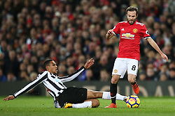 Juan Mata of Manchester United is tackled by Isaac Hayden of Newcastle United - Mandatory by-line: Matt McNulty/JMP - 18/11/2017 - FOOTBALL - Old Trafford - Manchester, England - Manchester United v Newcastle United - Premier League