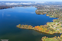 Aerial photo of a colorful peninsula on Old Hickory Lake near Nashville Tennessee.