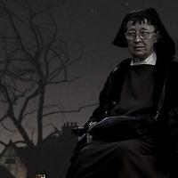 A nun sitting in a wheelchair in a garden at night