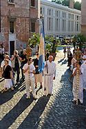 """Roma 19 Luglio 2014<br /> Venerabile Arciconfraternita del SS.mo Sacramento e di Maria Ss. del Carmine in Trastevere a Roma fondata nell' anno 1539. I Solenni Festeggiamenti e la processione in onore della.Madonna del Carmine detta """"de' Noantri"""".<br /> Rome, Italy. 19th July 2014<br /> The Solemn celebrations and processions in honor of Madonna del Carmine, Our Lady of Roman Citizens, took place in Rome. The bearers of the statue were the Venerable Confraternity of the Blessed Sacrament and Maria del Carmine in Trastevere."""