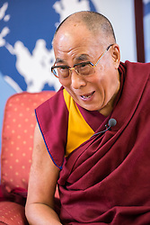 © Licensed to London News Pictures. 19/04/2013. Cambridge, Cambridgeshire, UK. His Holiness the Dalai Lama attending a press conference today (19th April 2013) at the Divinity School of St. John's College. He will be a speaker at the Global Scholars Symposium. The Global Scholars Symposium brings together scholars to collaborate on current research, envision the future of their fields, and bridge disciplinary boundaries to create new paths of innovation. The GSS allows current world leaders to interact with young academics who are striving to meet the great challenges of global society.. Photo credit : Alan Bennett/LNP