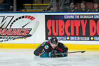 KELOWNA, CANADA - OCTOBER 10:  Erik Gardiner #11 of the Kelowna Rockets slides along the ice during second period against the Seattle Thunderbirds on October 10, 2018 at Prospera Place in Kelowna, British Columbia, Canada.  (Photo by Marissa Baecker/Shoot the Breeze)  *** Local Caption ***