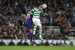 December 5, 2017 - Barcelona, Catalonia, Spain - JEREMY MATHIEU of Sporting CP heads the ball under pressure from ANDRE GOMES of FC Barcelona during the UEFA Champions League, Group D football match between FC Barcelona and Sporting CP on December 5, 2017 at Camp Nou stadium in Barcelona, Spain. (Credit Image: © Manuel Blondeau via ZUMA Wire)