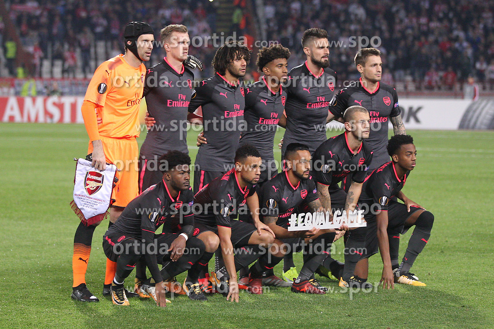 Players of Arsenal during football match between NK Crvena Zvezda Beograd and Arsenal FC in Group H of UEFA Europa League 2017/18, on October 19, 2017 in Stadion Rajko Mitic, Belgrade, Serbia. Photo by Marko Metlas / Sportida