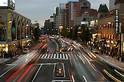 evening rush hour traffic near Shinagawa station Tokyo Japan