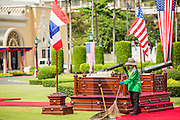 18 NOVEMBER 2012 - BANGKOK, THAILAND:  A groundskeeper finishes cleaning up around the reviewing stand in advance of the visit of US President Barack Obama to Thailand Sunday. US President Barack Obama arrives for the start of his tour of Southeast Asia on November 18, 2012 in Bangkok, Thailand. Barack Obama will become the first US President to visit Myanmar during the four-day tour of Southeast Asia that will also include visits to Thailand and Cambodia.     PHOTO BY JACK KURTZ