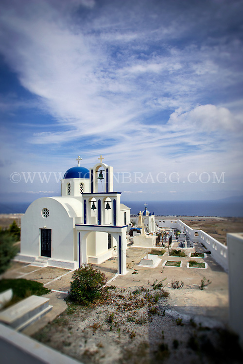 A Greek Orthodox church, bells, skyline, Santorini, Greece