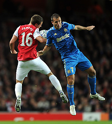 01.11.2011, Emirates Stadion, London, ENG, UEFA CL, Gruppe F, Arsenal FC (GBR) vs Olympique de Marseille (FRA), im Bild  Arsenal's Aaron Ramsey in action against Olympique de Marseille's Benoit Cheyrou // during UEFA Champions League group F match between Arsenal FC (GBR) and Olympique de Marseille (FRA) at Emirates Stadium, London, United Kingdom on 01/11/2011. EXPA Pictures © 2011, PhotoCredit: EXPA/ Propaganda Photo/ Chris Brunskill +++++ ATTENTION - OUT OF ENGLAND/GBR+++++