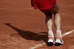 April 21, 2018 - La Manga, Murcia, Spain - Garbine Muguruza of Spain shoes detail in her match against Montserrat Gonzalez of Paraguay during day one of the Fedcup World Group II Play-offs match between Spain and Paraguay at Centro de Tenis La Manga Club on April 21, 2018 in La Manga, Spain  (Credit Image: © David Aliaga/NurPhoto via ZUMA Press)