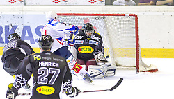 19.08.2012, Messestadion, Dornbirn, AUT, Eishockey Testspiel, Dornbirner Eishockey Club vs EV Ravensburg Towerstars, im Bild Frederik Cabana, (EV Ravensburg Towerstars #97) und Andreas Brenkusch, (Dornbirner Eishockey Club, #34) // during a international Icehockey Friendly Match between Dornbirner Icehockey club and EV Ravensburg Towerstars at the Exhibition Stadium, Dornbirn, Austria on 2012/08/19, EXPA Pictures © 2012, PhotoCredit: EXPA/ Peter Rinderer