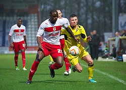 STEVENAGE, ENGLAND - Saturday, November 24, 2012: Tranmere Rovers' Michael O'Halloran in action against Stevenage's Bondz N'Gala during the Football League One match at Broadhall Way. (Pic by David Rawcliffe/Propaganda)