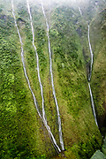See high waterfalls streaming down the lush green flanks of Kauai's Mt. Waialeale, one of the wettest spots on Earth, via a thrilling rain-spattered helicopter ride, in the state of Hawaii, USA. (But approaching the base of this remote tropical mountain via land is a serious all-day adventure requiring a four-wheel drive vehicle plus 8 miles round trip of advanced hiking on slippery, unmarked trails to viewpoints, or further rock hopping to the mystical Blue Hole deep within Wailua Gorge.) Located in the center of Kauai, Mt. Waialeale rises to 5148 feet elevation (the second highest peak on the island, after Kawaikini at 5243 feet).