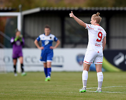 Natasha Dowie of Liverpool Ladies acknowledges Liverpool supporters at Stoke Gifford Stadium as she celebrates her hat-trick - Mandatory by-line: Paul Knight/JMP - Mobile: 07966 386802 - 13/09/2015 -  FOOTBALL - Stoke Gifford Stadium - Bristol, England -  Bristol Academy Women v Liverpool Ladies FC - FA WSL Continental Tyres Cup