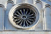 Ornate rose window, Cathedral of St. Anastasia (Katedrala sv. Stosije). Zadar, Croatia