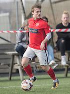 FODBOLD: Jesper Meyer (Helsinge) under kampen i Serie 1 mellem Helsinge Fodbold og Ølstykke FC den 14. april 2018 på Helsinge Stadion. Foto: Claus Birch.