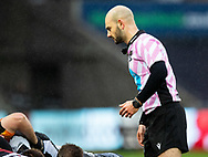 Referee Andrea Piardi<br /> <br /> Photographer Simon King/Replay Images<br /> <br /> Guinness PRO14 Round 6 - Ospreys v Southern Kings - Saturday 9th November 2019 - Liberty Stadium - Swansea<br /> <br /> World Copyright © Replay Images . All rights reserved. info@replayimages.co.uk - http://replayimages.co.uk