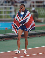 Kelly Holmes (GBR) in tears as she celebrates victory in the Womens 800m Final . Atheletics, 23/08/2004. Credit: Colorsport / Matthew IMpey DIGITAL FILE ONLY