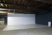 Photographer John Krause's 32' x 12' x 28' infinity wall in the 13,000-sq.-ft. building that is the future home of Liquid Sound Studios, Thursday, July 26, 2012, on Corydon Pike in New Albany, Ind. (Photo by Brian Bohannon)