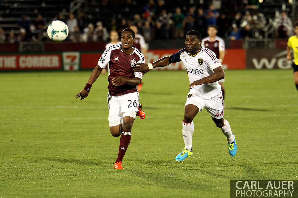 August 3rd, 2013 - Colorado Rapids forward Deshorn Brown (26) and Real Salt Lake defender Brandon McDonald (44) chase after the ball in second half action of in the Major League Soccer match between Real Salt Lake and the Colorado Rapids at Dick's Sporting Goods Park in Commerce City, CO