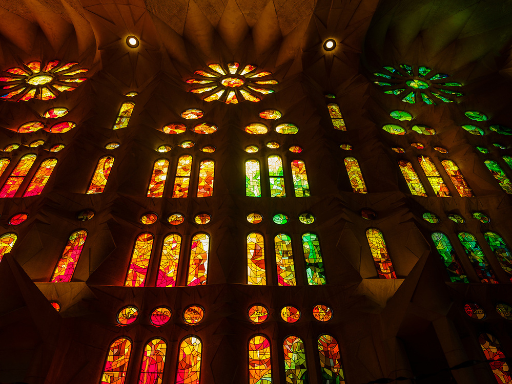 BARCELONA, SPAIN - CIRCA MAY 2018: Interior of La Sagrada Familia, a famous Cathedral in Barcelona designed by Antoni Gaudi. View of the interior Vitraux.