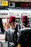Young orthodox youths in Purim costume Photographed in Bnei Brak, Israel