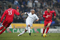 BOLTON, ENGLAND - MONDAY, JANUARY 2nd, 2006: Liverpool's Dietmar Hamann and Bolton Wanderers' El Hadji Diouf during the Premiership match at the Reebok Stadium. (Pic by David Rawcliffe/Propaganda)