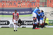 GOAL Rangers forward Jermain Defoe (9) scores to make it 0-2 and celebrates during the Ladbrokes Scottish Premiership match between Hamilton Academical FC and Rangers at New Douglas Park, Hamilton, Scotland on 24 February 2019.