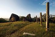 Stone pillars above the Vessagiriya cave monastery at the UNESCO World Heritage Site of Anuradhapura. Central Sri Lanka.