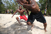 FEB  5 2014:  Kelvin Benjamin (right)  trains with Marquis Flowers for the NFL Scouting Combing with Coach Tom Shaw at his facility at Disney's Wide World of Sports in Orlando, Florida. Photo by Tom Hauck.
