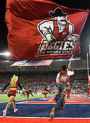 December 29, 2017; Tucson, AZ, USA;  New Mexico State Aggies mascot Pistol Pete waves a giant flag after New Mexico State Aggies wide receiver Jaleel Scott (16) scored the game-tying touchdown in the fourth quarter of the team's game against the Utah State Aggies\ during the NOVA Home Loans Arizona Bowl at Arizona Stadium in Tucson, Ariz.  Photo by Sam Wasson/bleedCrimson.net