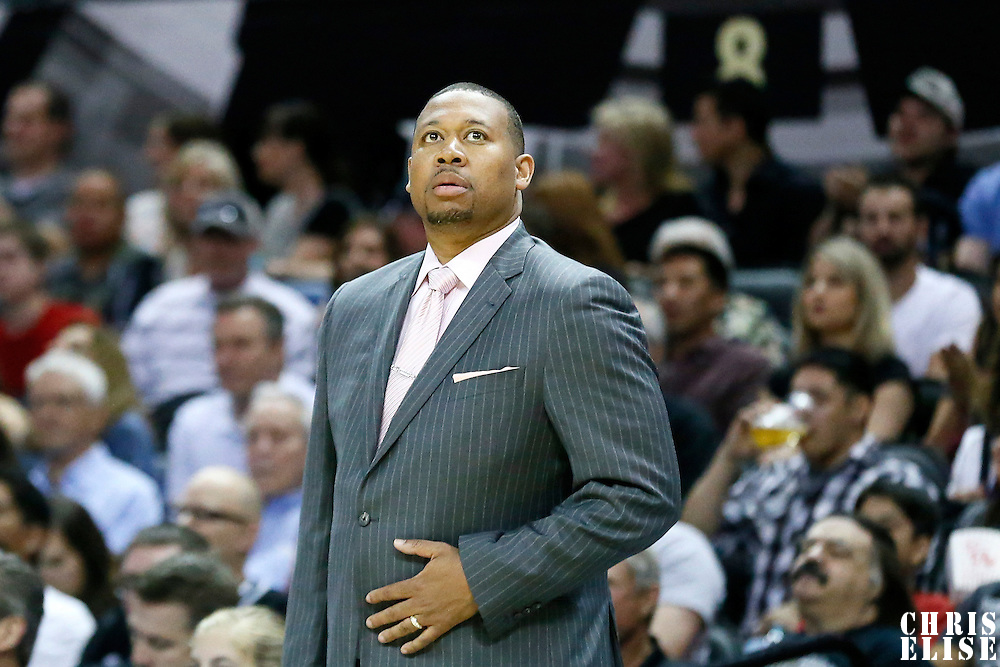03 April 2015: Denver Nuggets head coach Melvin Hunt is seen during the San Antonio Spurs 123-93 victory over the Denver Nuggets , at the AT&T Center, San Antonio, Texas, USA.