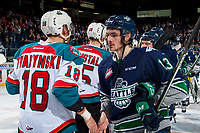 KELOWNA, CANADA - APRIL 30: Mathew Barzal #13 of the Seattle Thunderbirds shakes hand with Carsen Twarynski #18 of the Kelowna Rockets on April 30, 2017 at Prospera Place in Kelowna, British Columbia, Canada.  (Photo by Marissa Baecker/Shoot the Breeze)  *** Local Caption ***