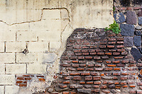 A weathered wall in Antigua, Guatemla on Sunday, July 22, 2018.