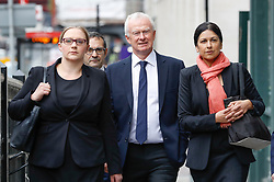 © Licensed to London News Pictures. 24/04/2017. London, UK. L to R Solicitors ANNA CROWTHER, MARTYN DAY and SAPNA MALIK arrive at the Solicitors Disciplinary Tribunal in central London where they face disciplinary proceedings following claims by the Ministry of Defence that Leigh Day solicitors took part in ambulance-chasing over false compensation claims for the torture of Iraqi citizens. Photo credit: Peter Macdiarmid/LNP