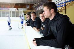 Robert Sabolic, Rok Ticar and Jan Urbas before first practice of Slovenian National Ice Hockey team before EIHC tournament in Innsbruck, on November 4, 2013 in Ledena dvorana Bled, Bled, Slovenia. (Photo by Matic Klansek Velej / Sportida.com)
