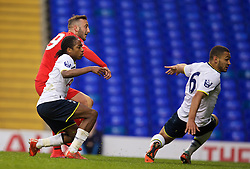 LONDON, ENGLAND - Friday, April 17, 2015: Liverpool's Samid Yesil scores the first goal against Tottenham Hotspur during the Under 21 FA Premier League match at White Hart Lane. (Pic by David Rawcliffe/Propaganda)