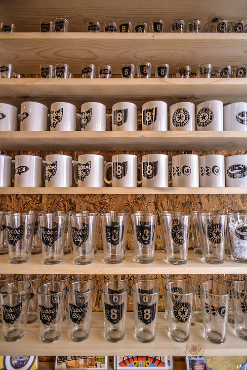 Glasses and mugs for sale at Rubber City Clothing.