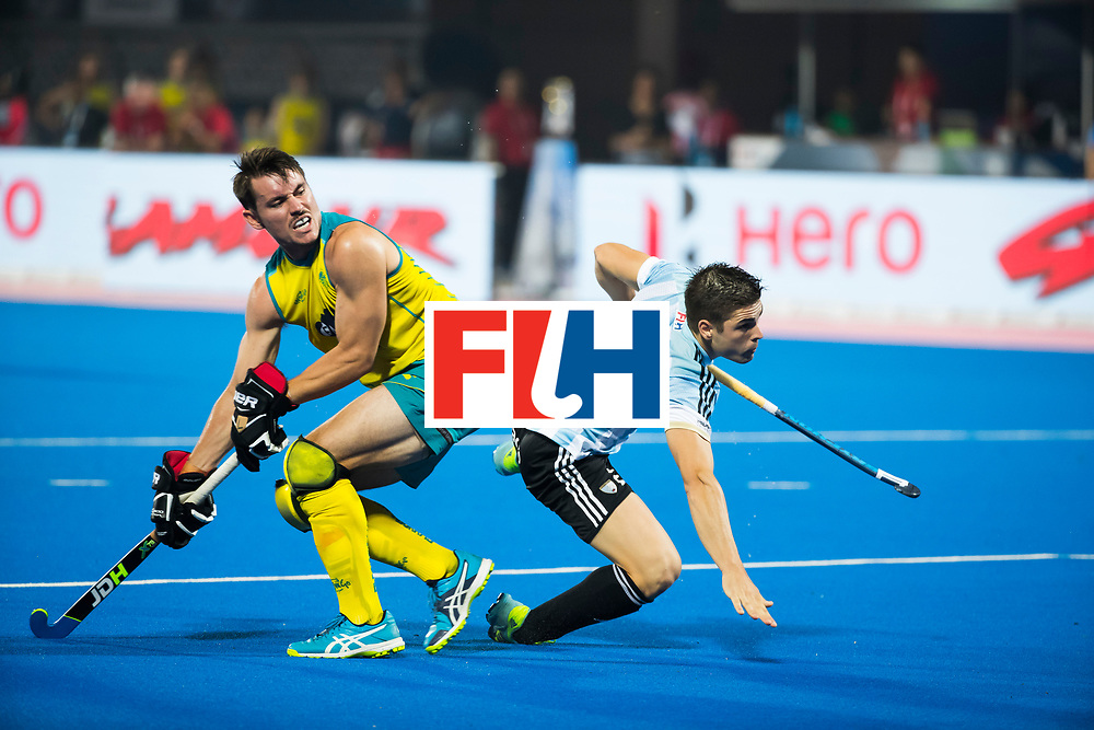 BHUBANESWAR - Jeremy Hayward (Aus) met Gonzalo Peillat (Arg) .   Hockey World League finals , Final Australia-Argentina (2-1) . Australia wint de finale. COPYRIGHT KOEN SUYK