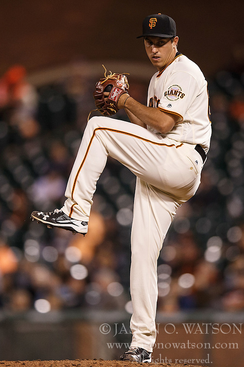 SAN FRANCISCO, CA - APRIL 18: Derek Law #64 of the San Francisco Giants pitches against the Arizona Diamondbacks during the tenth inning at AT&T Park on April 18, 2016 in San Francisco, California. The Arizona Diamondbacks defeated the San Francisco Giants 9-7 in 11 innings.  (Photo by Jason O. Watson/Getty Images) *** Local Caption *** Derek Law