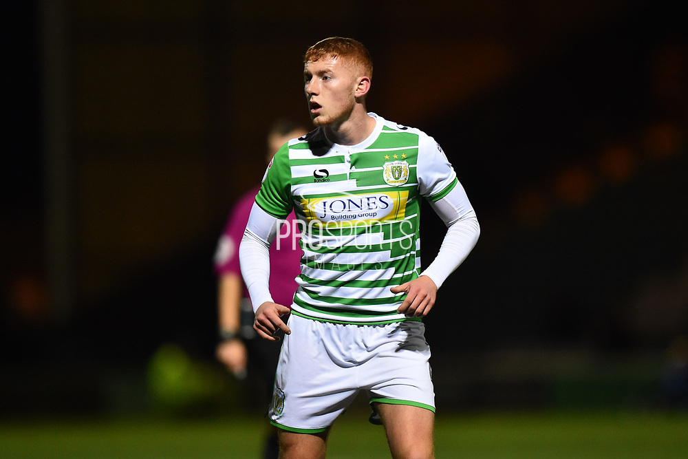 Matt Worthington (4) of Yeovil Town during the EFL Trophy match between Yeovil Town and AFC Wimbledon at Huish Park, Yeovil, England on 5 December 2017. Photo by Graham Hunt.