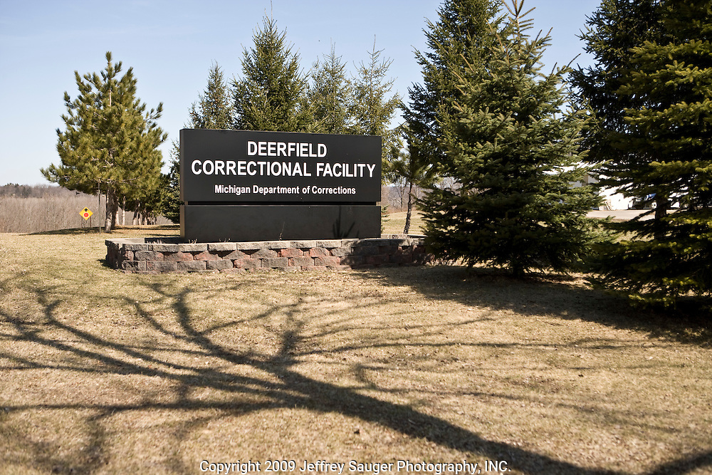 The sign in front of Deerfield Correctional Facility's empty yard after the last 33 of 1,200 prisoners were transported out of the closing prison in Ionia, MI, Friday, March 20, 2009. The prisoners were transferred to West Shoreline Correctional Facility in Muskegon, MI.