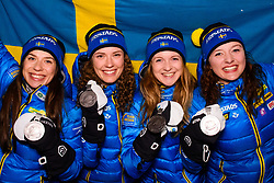 March 16, 2019 - –Stersund, Sweden - 190316 Anna Magnusson, Hanna Öberg, Mona Brorsson and Linn Persson of Sweden pose with their silver medaljs after the medal ceremony for the Women's 4x6 km Relay during the IBU World Championships Biathlon on March 16, 2019 in Östersund..Photo: Petter Arvidson / BILDBYRÃ…N / kod PA / 92270 (Credit Image: © Petter Arvidson/Bildbyran via ZUMA Press)