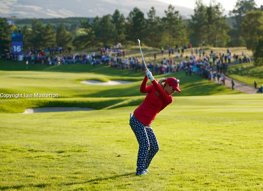 Solheim Cup 2019 at Centenary Course at Gleneagles in Scotland, UK, Danielle Kang of USA approach to 16th hole during Friday Afternoon Fourballs.