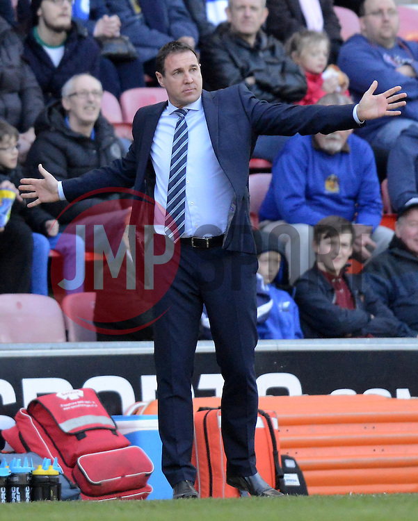 Wigan Athletic Manager, Malky Mackay gestures - Photo mandatory by-line: Richard Martin-Roberts/JMP - Mobile: 07966 386802 - 07/03/2015 - SPORT - Football - Wigan - DW Stadium - Wigan Athletic v Leeds United - Sky Bet Championship