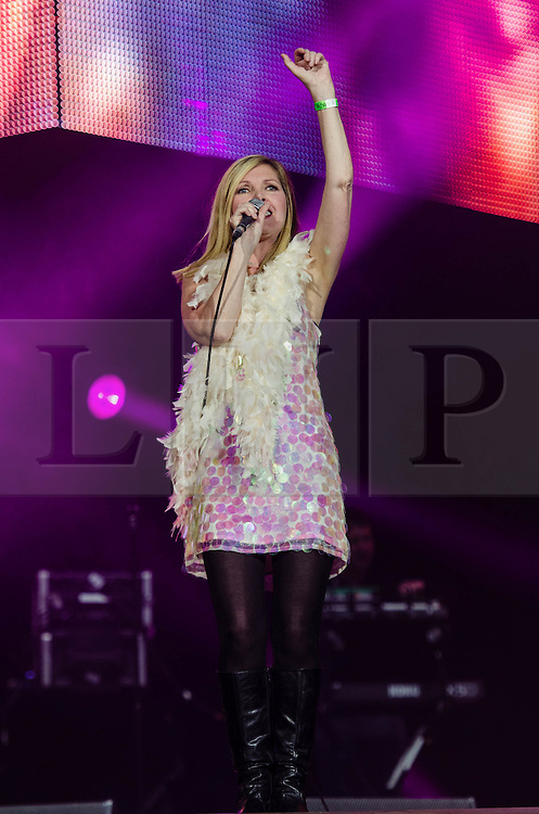 © Licensed to London News Pictures. 4/08/2012. London, UK.  Sarah Cracknell of British electronic band St Etienne, which performs  live at BT London Live, Hyde Park.  Saint Etienne are an English electronic music band from London, formed in 1990. The band consists of Sarah Cracknell, Bob Stanley and Pete Wiggs. They are named after the French football team AS Saint-Étienne.  Photo credit : Richard Isaac/LNP