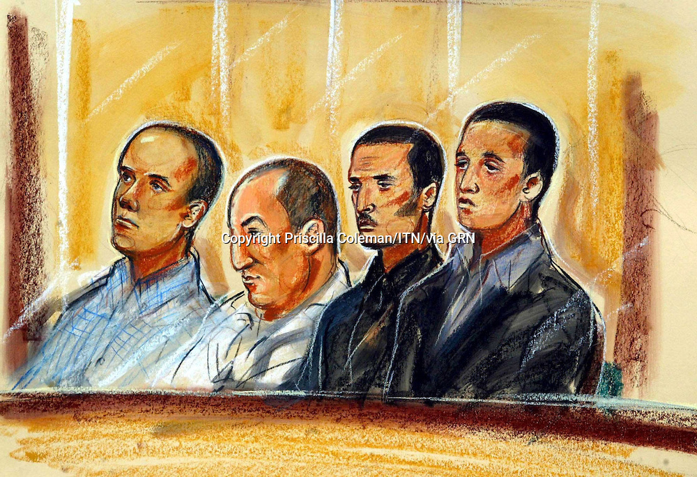 ©PRISCILLA COLEMAN ITV NEWS.SUPPLIED BY: PHOTONEWS SERVICE LTD OLD BAILEY.ARTWORK SHOWS: (NAMES NOT LISTED IN ORDER) SAMIR ASLI, MOULOUD MOUHRAMA, KHALID ALWERFELI AND KAMEL MERZOUG AT THE OLD BAILEY. THE FOUR WERE DUE TO FACE TRIAL IN CONNECTION WITH A PLOT TO USE RICIN IN A TERROR ATTACK, BUT IT WAS DECIDED TODAY THAT THE TRIAL WILL NOT GO AHEAD. SEE STORY.ILLUSTRATION: PRISCILLA COLEMAN ITV NEWS