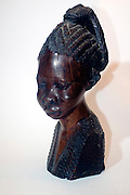 African Art, wood portrait of a female African bust, south Africa